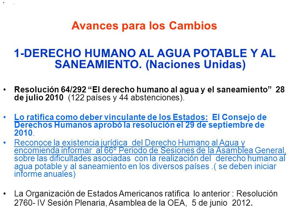 . Avances para los Cambios 1-DERECHO HUMANO AL AGUA POTABLE Y AL SANEAMIENTO. (Naciones Unidas) Resolución 64/292 El derecho humano al agua y el sanea