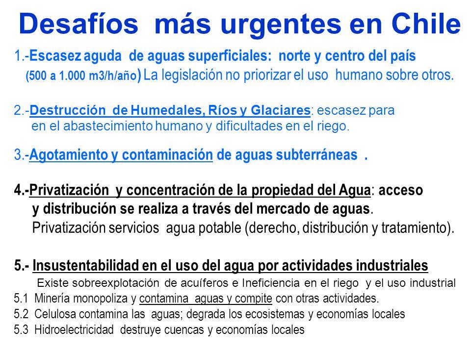 Desafíos más urgentes en Chile 1.- Escasez aguda de aguas superficiales: norte y centro del país (500 a 1.000 m3/h/año ) La legislación no priorizar e