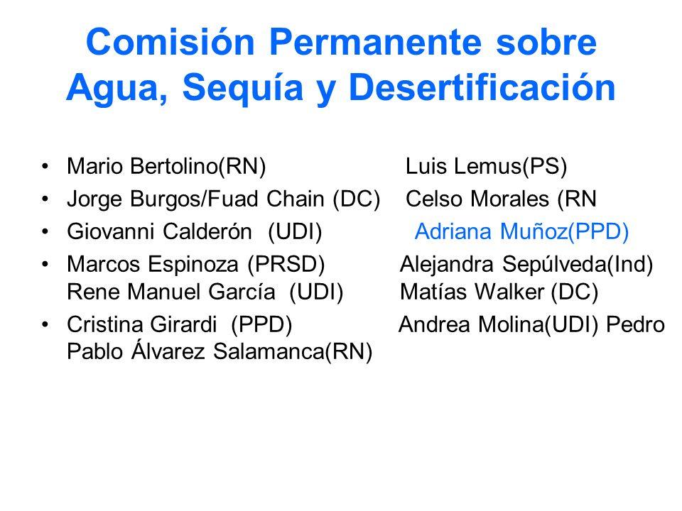 Comisión Permanente sobre Agua, Sequía y Desertificación Mario Bertolino(RN) Luis Lemus(PS) Jorge Burgos/Fuad Chain (DC) Celso Morales (RN Giovanni Ca