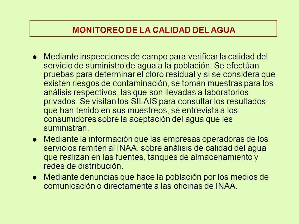 lEL MINISTERIO DE SALUD, por la ley tiene la responsabilidad de la vigilancia de la calidad del agua para consumo humano a nivel nacional. lEl INAA ti