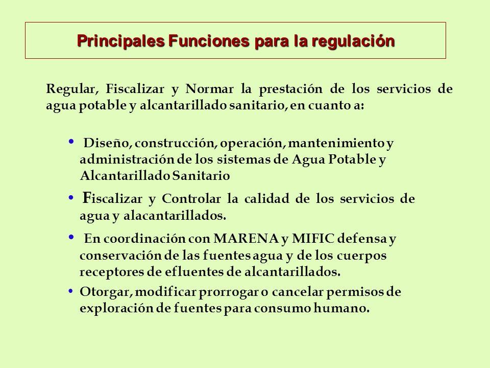 Principales Funciones para la regulación Diseño, construcción, operación, mantenimiento y administración de los sistemas de Agua Potable y Alcantarillado Sanitario F iscalizar y Controlar la calidad de los servicios de agua y alacantarillados.