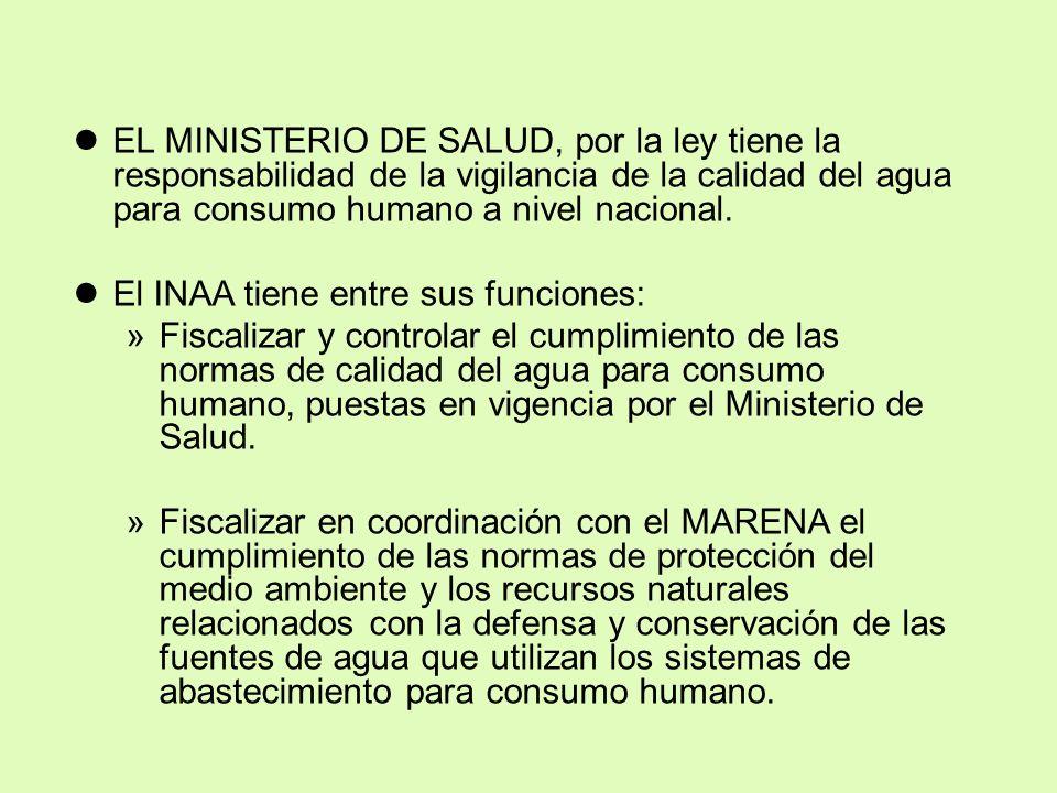 lEL MINISTERIO DE SALUD, por la ley tiene la responsabilidad de la vigilancia de la calidad del agua para consumo humano a nivel nacional.