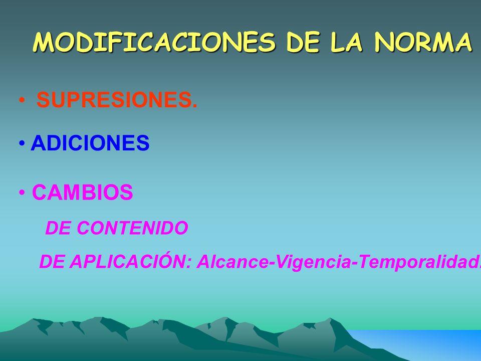 MODIFICACIONES DE LA NORMA SUPRESIONES. ADICIONES CAMBIOS DE CONTENIDO DE APLICACIÓN: Alcance-Vigencia-Temporalidad.
