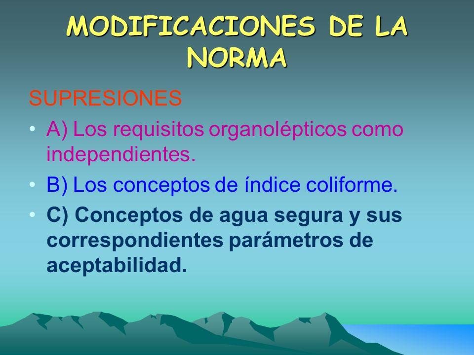 MODIFICACIONES DE LA NORMA SUPRESIONES A) Los requisitos organolépticos como independientes. B) Los conceptos de índice coliforme. C) Conceptos de agu