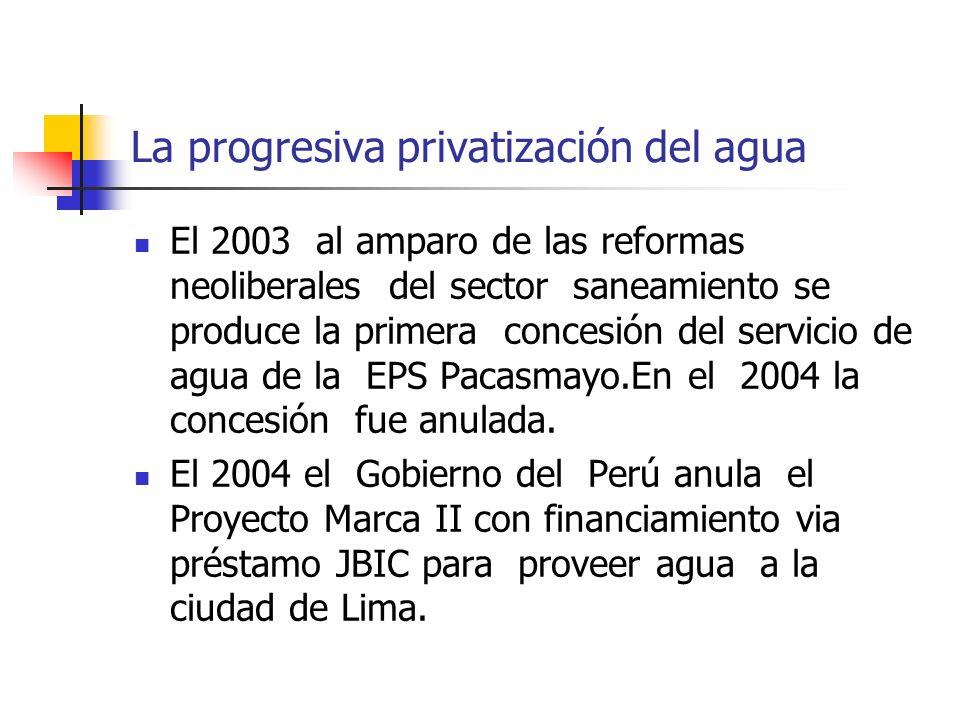 La progresiva privatización del agua El 2003 al amparo de las reformas neoliberales del sector saneamiento se produce la primera concesión del servicio de agua de la EPS Pacasmayo.En el 2004 la concesión fue anulada.