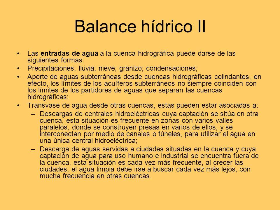Balance hídrico I Es el equilibrio entre todos los recursos hídricos que ingresan en el sistema y los que salen del mismo en un intervalo de tiempo Pa