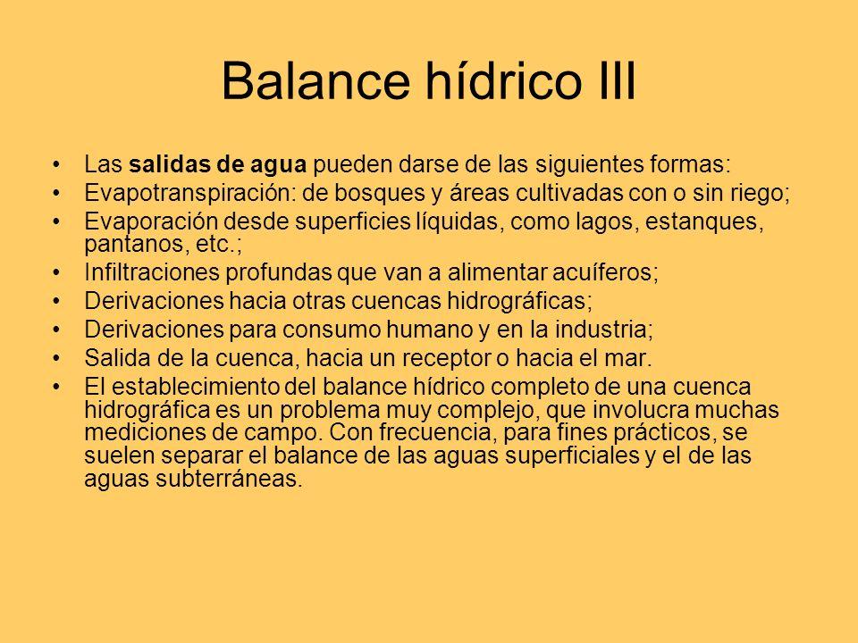 Balance hídrico II Las entradas de agua a la cuenca hidrográfica puede darse de las siguientes formas: Precipitaciones: lluvia; nieve; granizo; conden
