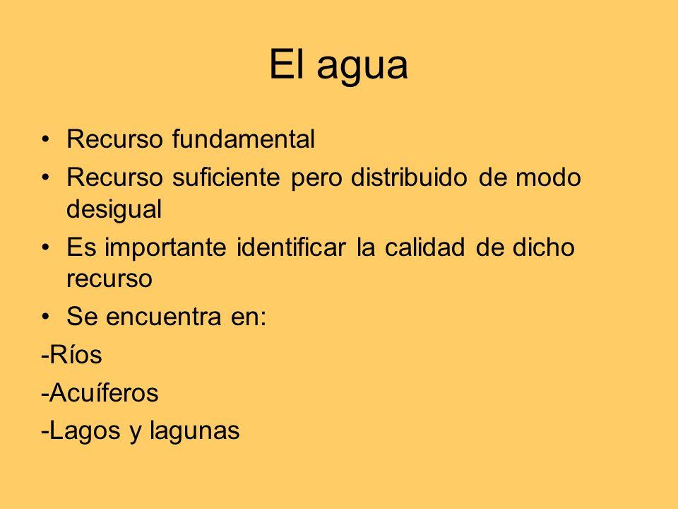 Enfoques del estudio del agua Agua como recurso natural aprovechado por el ser humano Agua como riesgo natural Análisis de recursos y demandas de agua