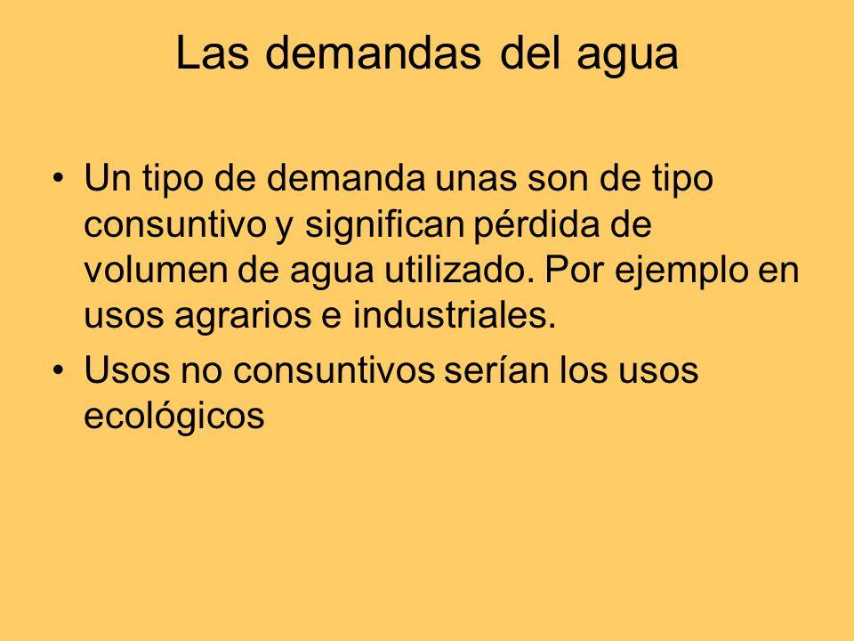 Recursos y demanda de agua en el territorio La desigualdad de recursos y demandas en las distintas partes del territorio obliga a una planificación. R