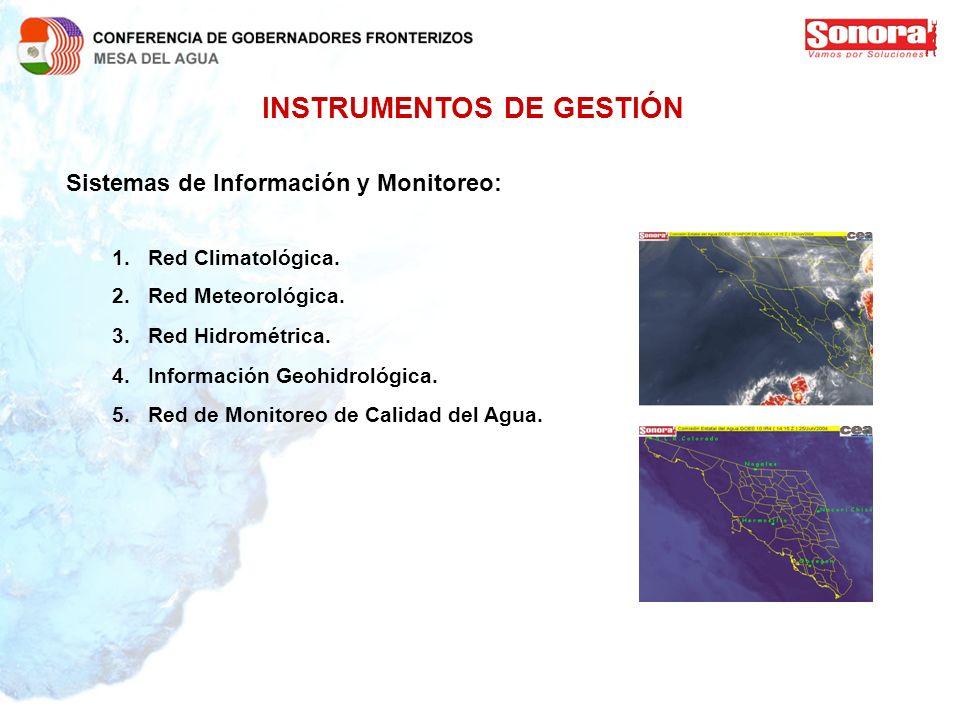 INSTRUMENTOS DE GESTIÓN Sistemas de Información y Monitoreo: 1.Red Climatológica. 2.Red Meteorológica. 3.Red Hidrométrica. 4.Información Geohidrológic