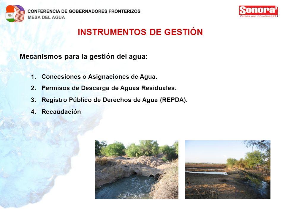 INSTRUMENTOS DE GESTIÓN Mecanismos para la gestión del agua: 1.Concesiones o Asignaciones de Agua. 2.Permisos de Descarga de Aguas Residuales. 3.Regis