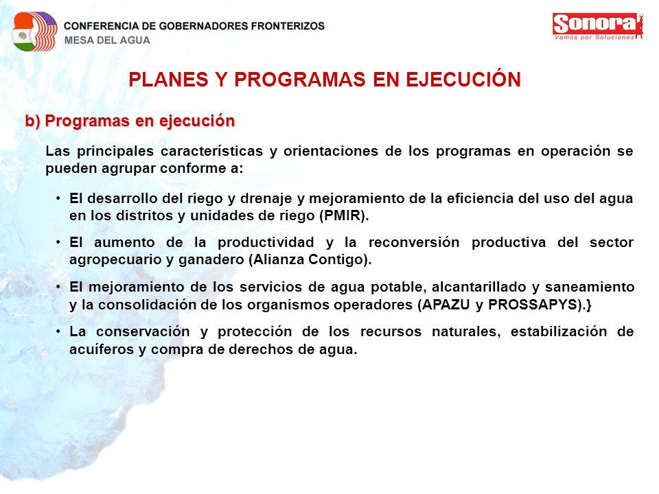 PLANES Y PROGRAMAS EN EJECUCIÓN b)Programas en ejecución b) Programas en ejecución Las principales características y orientaciones de los programas en