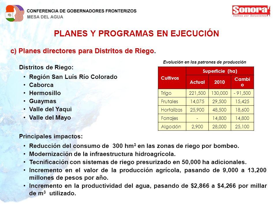 PLANES Y PROGRAMAS EN EJECUCIÓN c)Planes directores para Distritos de Riego c) Planes directores para Distritos de Riego. Distritos de Riego: Región S