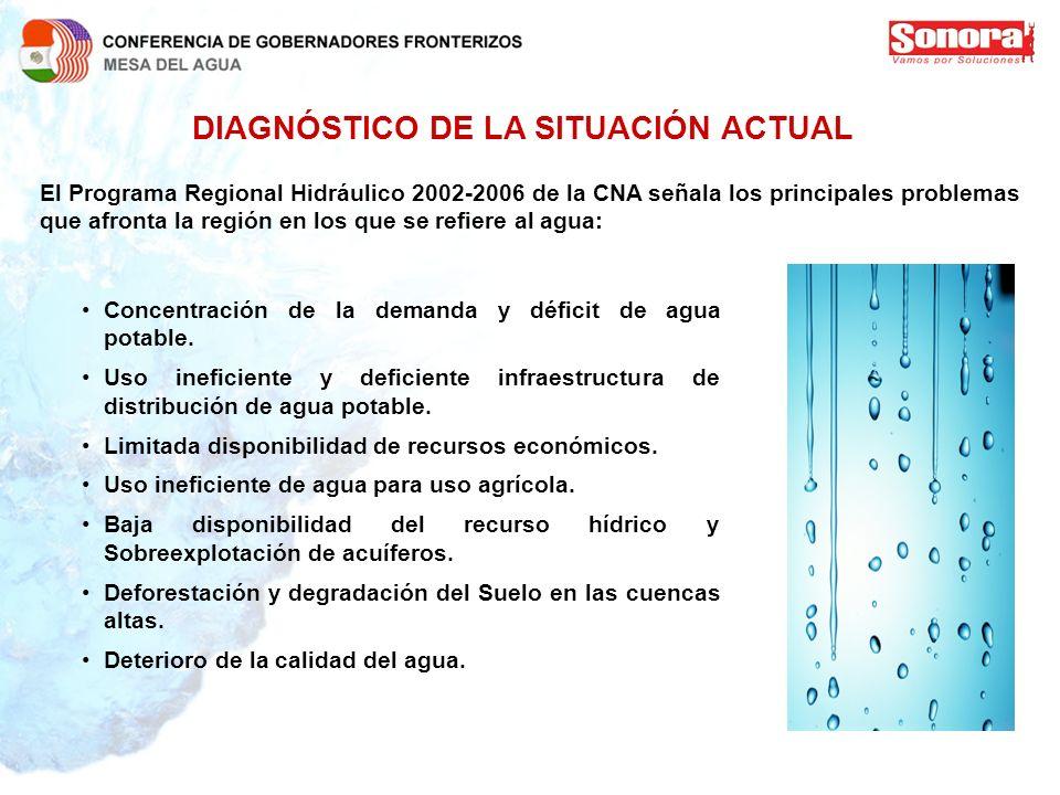 DIAGNÓSTICO DE LA SITUACIÓN ACTUAL El Programa Regional Hidráulico 2002-2006 de la CNA señala los principales problemas que afronta la región en los q