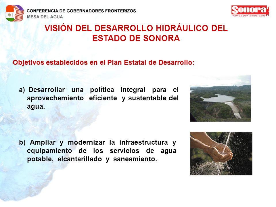 VISIÓN DEL DESARROLLO HIDRÁULICO DEL ESTADO DE SONORA Objetivos establecidos en el Plan Estatal de Desarrollo: a) Desarrollar una política integral pa