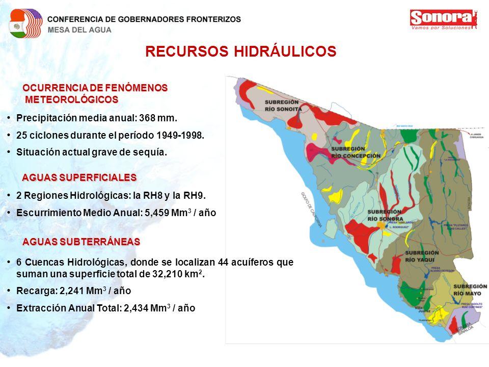 RECURSOS HIDRÁULICOS OCURRENCIA DE FENÓMENOS METEOROLÓGICOS METEOROLÓGICOS Precipitación media anual: 368 mm. 25 ciclones durante el período 1949-1998