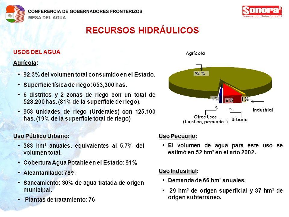 RECURSOS HIDRÁULICOS USOS DEL AGUA 92.3% del volumen total consumido en el Estado. Superficie física de riego: 653,300 has. 6 distritos y 2 zonas de r