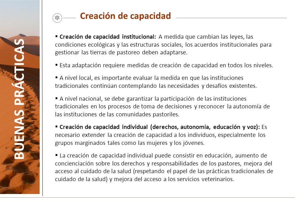 Creación de capacidad BUENAS PRÁCTICAS Creación de capacidad institucional: A medida que cambian las leyes, las condiciones ecológicas y las estructur