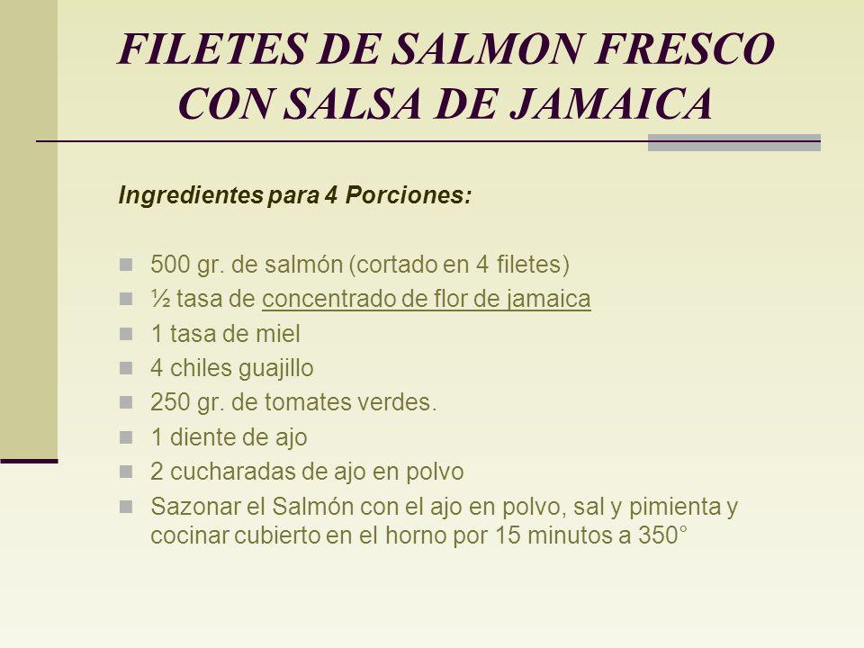 Elaboración: Un exótico platillo realmente delicioso… Remojar las flores de Jamaica durante 12 horas. Colar la flor. (El agua resultante se puede util