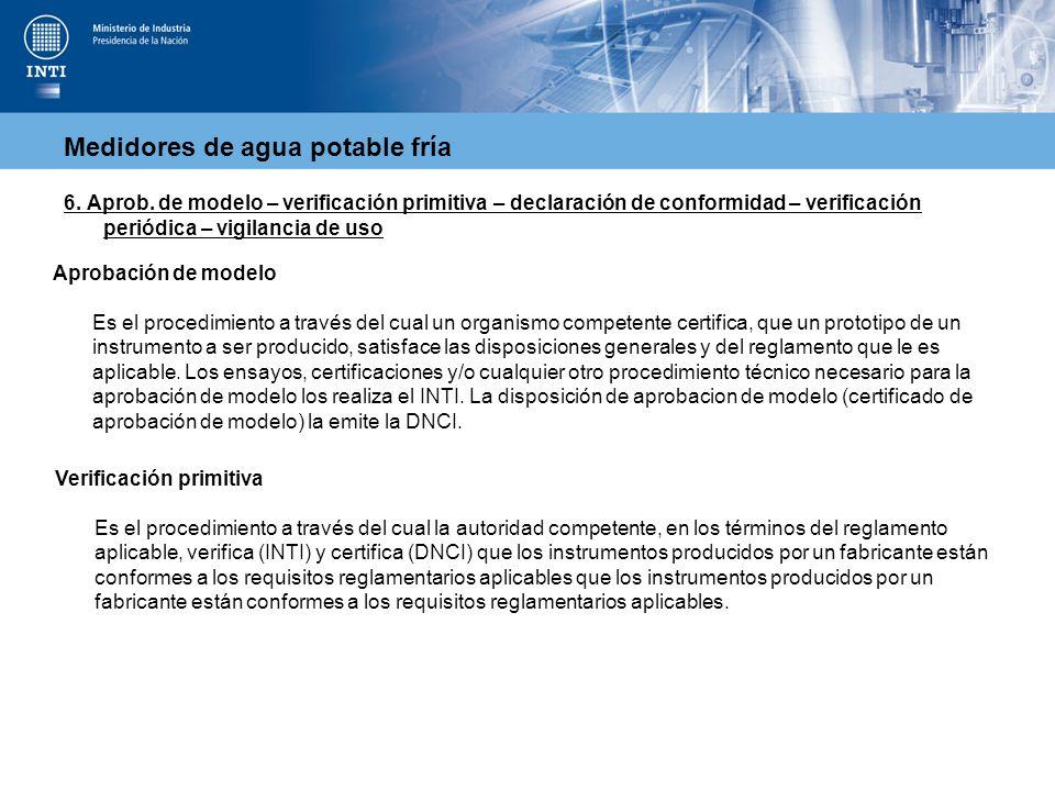 Medidores de agua potable fría 6. Aprob. de modelo – verificación primitiva – declaración de conformidad – verificación periódica – vigilancia de uso