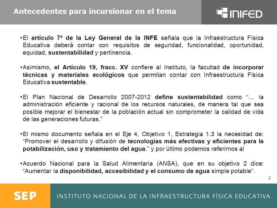 Antecedentes para incursionar en el tema 2 El artículo 7º de la Ley General de la INFE señala que la Infraestructura Física Educativa deberá contar co