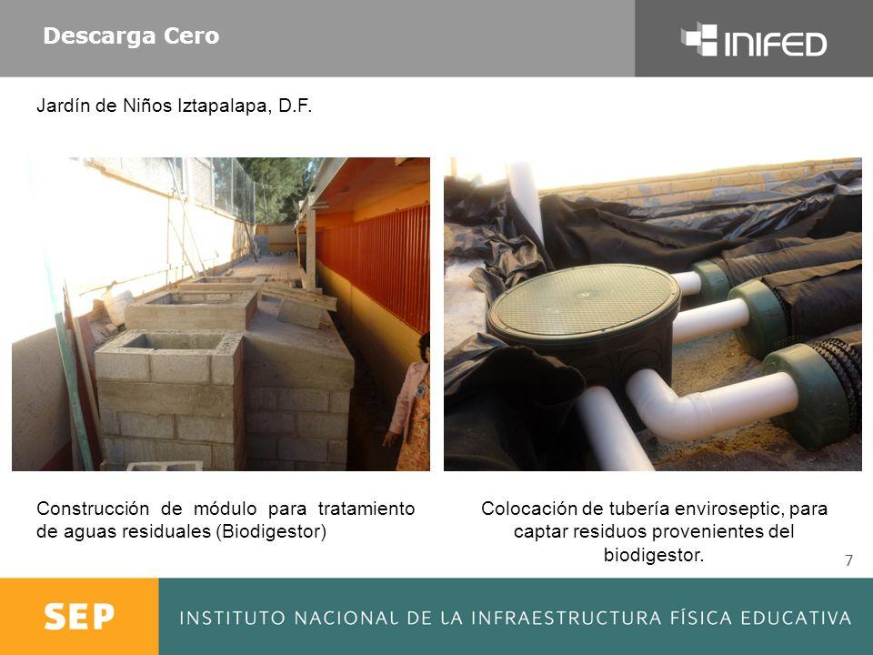 7 Descarga Cero Construcción de módulo para tratamiento de aguas residuales (Biodigestor) Colocación de tubería enviroseptic, para captar residuos pro