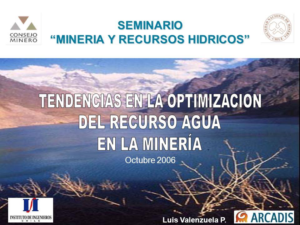 SEMINARIO MINERIA Y RECURSOS HIDRICOS Octubre 2006 Luis Valenzuela P.