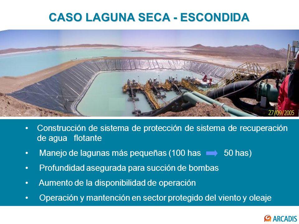 CASO LAGUNA SECA - ESCONDIDA Construcción de sistema de protección de sistema de recuperación de agua flotante Manejo de lagunas más pequeñas (100 has