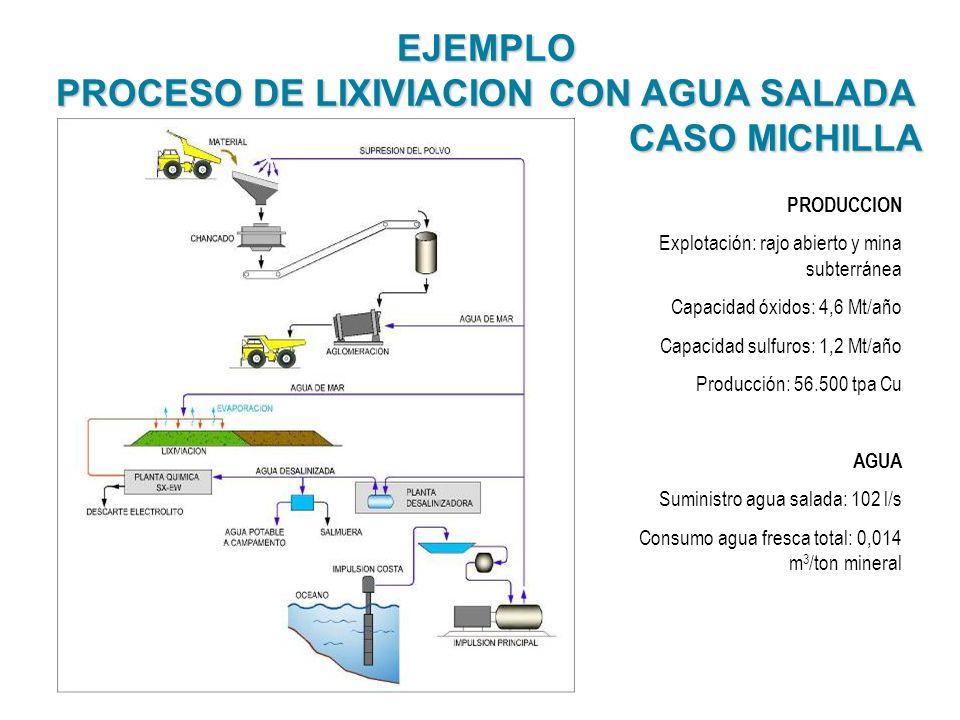 EJEMPLO PROCESO DE LIXIVIACION CON AGUA SALADA CASO MICHILLA CASO MICHILLA PRODUCCION Explotación: rajo abierto y mina subterránea Capacidad óxidos: 4