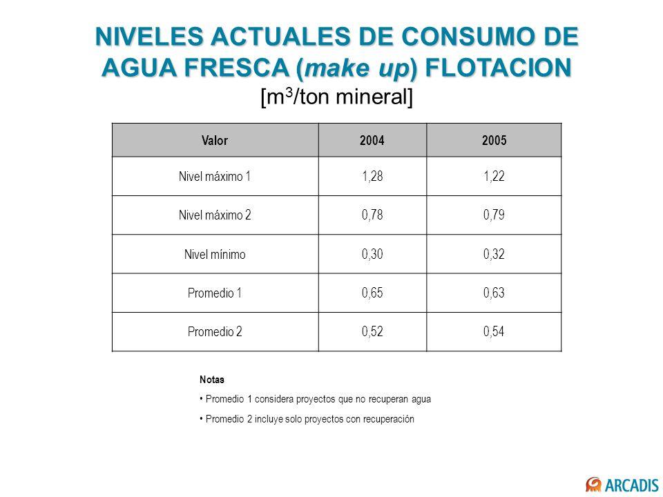 NIVELES ACTUALES DE CONSUMO DE AGUA FRESCA (make up) FLOTACION NIVELES ACTUALES DE CONSUMO DE AGUA FRESCA (make up) FLOTACION [m 3 /ton mineral] Valor