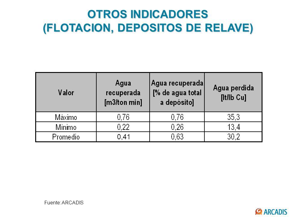 OTROS INDICADORES (FLOTACION, DEPOSITOS DE RELAVE) Fuente: ARCADIS 0,41