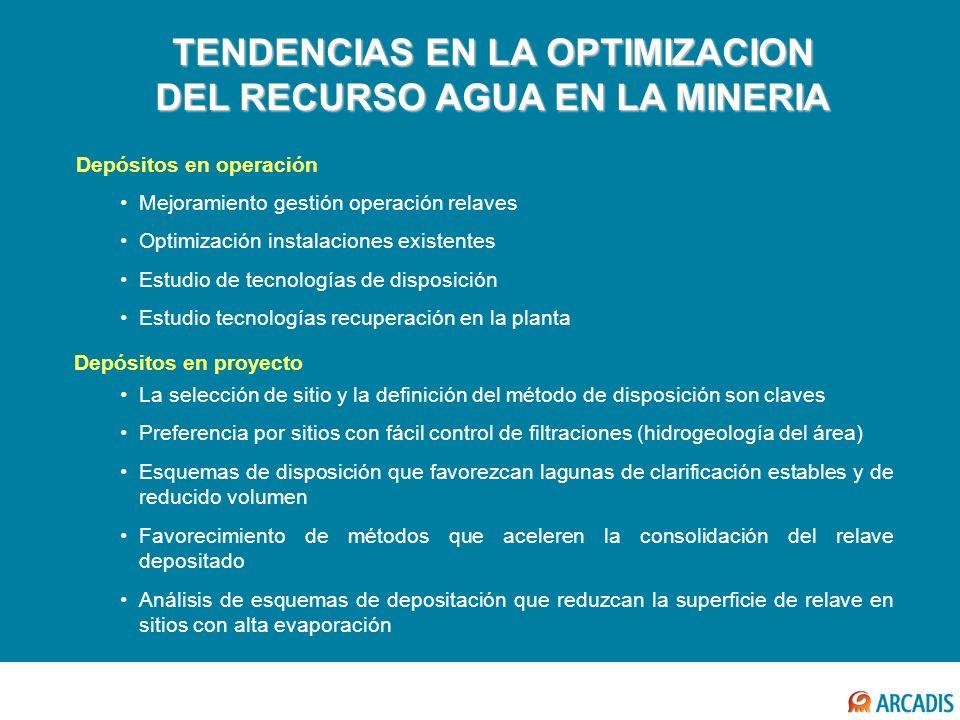 TENDENCIAS EN LA OPTIMIZACION DEL RECURSO AGUA EN LA MINERIA Mejoramiento gestión operación relaves Optimización instalaciones existentes Estudio de t