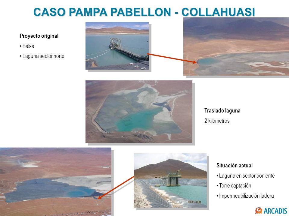 CASO PAMPA PABELLON - COLLAHUASI Situación actual Laguna en sector poniente Torre captación Impermeabilización ladera Proyecto original Balsa Laguna s