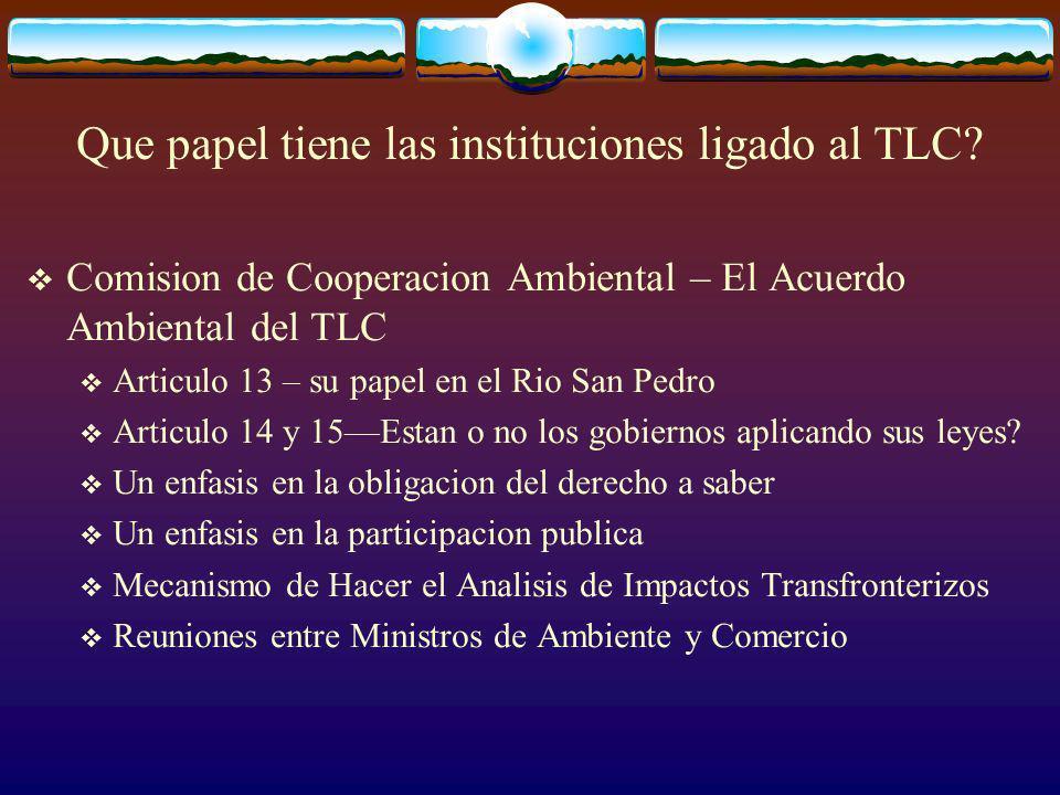 Que papel tiene las instituciones ligado al TLC.