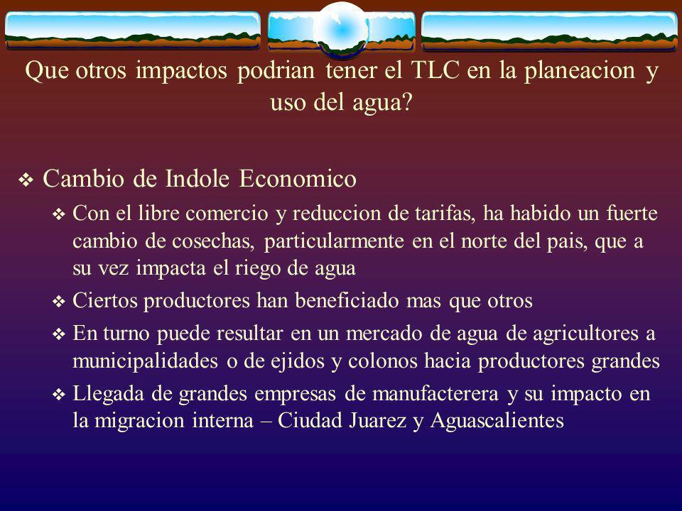 Que otros impactos podrian tener el TLC en la planeacion y uso del agua.