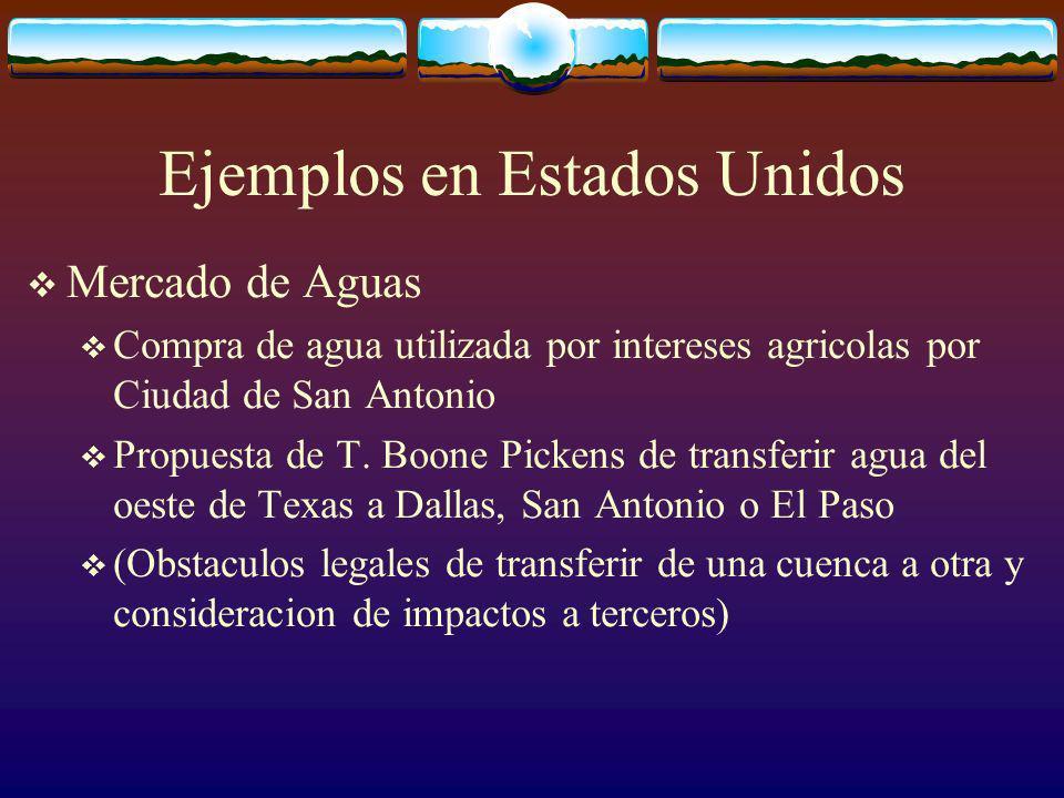 Ejemplos en Estados Unidos Mercado de Aguas Compra de agua utilizada por intereses agricolas por Ciudad de San Antonio Propuesta de T.