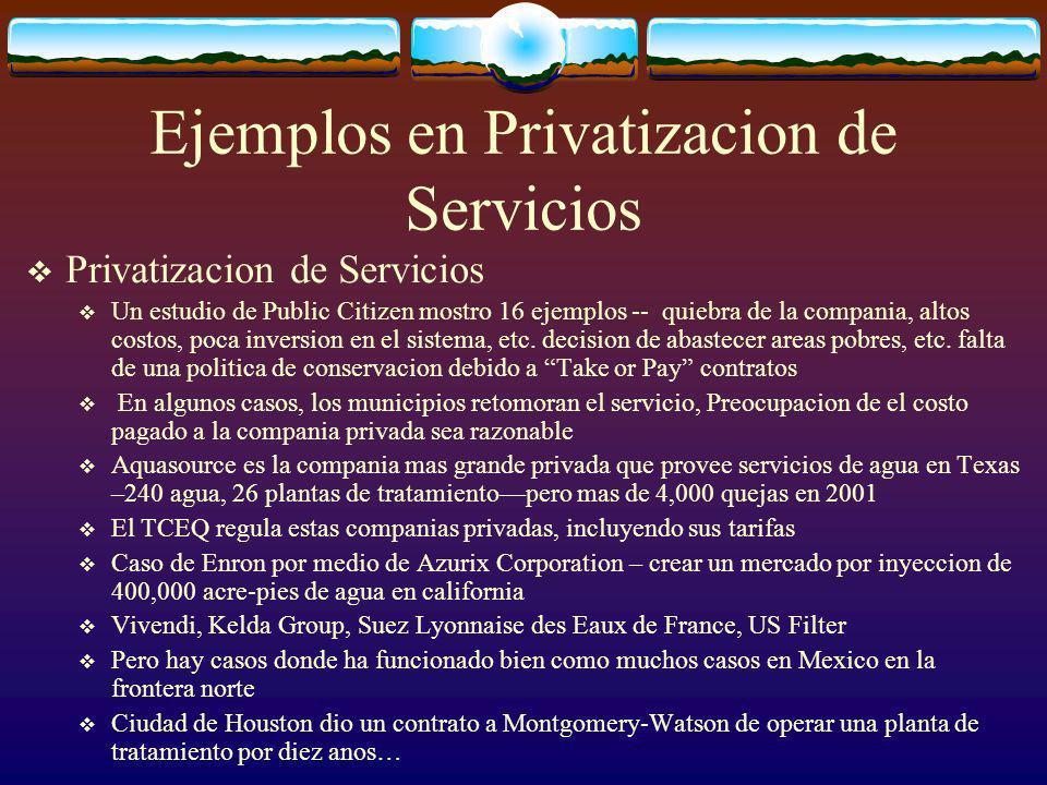 Ejemplos en Privatizacion de Servicios Privatizacion de Servicios Un estudio de Public Citizen mostro 16 ejemplos -- quiebra de la compania, altos costos, poca inversion en el sistema, etc.