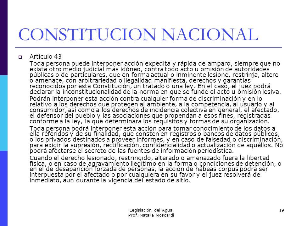 Legislación del Agua Prof. Natalia Moscardi 19 CONSTITUCION NACIONAL Artículo 43 Toda persona puede interponer acción expedita y rápida de amparo, sie