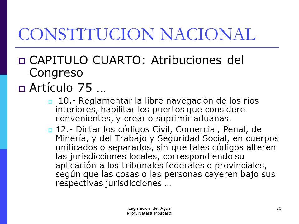 Legislación del Agua Prof. Natalia Moscardi 20 CONSTITUCION NACIONAL CAPITULO CUARTO: Atribuciones del Congreso Artículo 75 … 10.- Reglamentar la libr