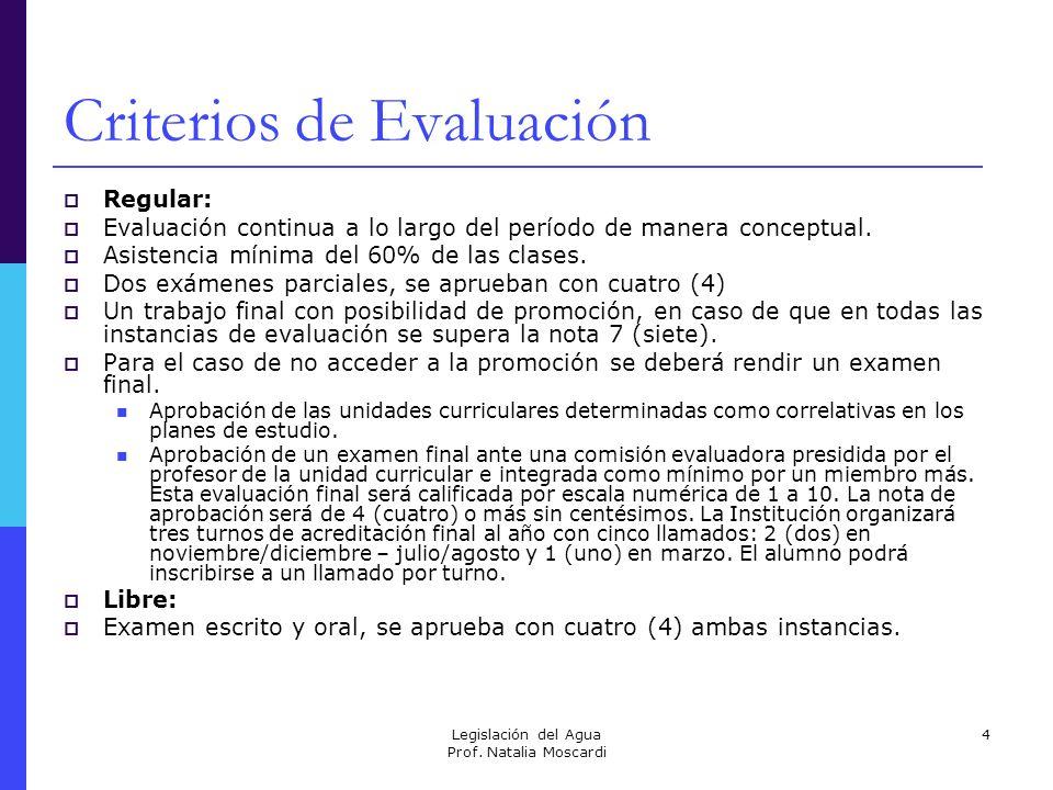 Legislación del Agua Prof. Natalia Moscardi 4 Criterios de Evaluación Regular: Evaluación continua a lo largo del período de manera conceptual. Asiste
