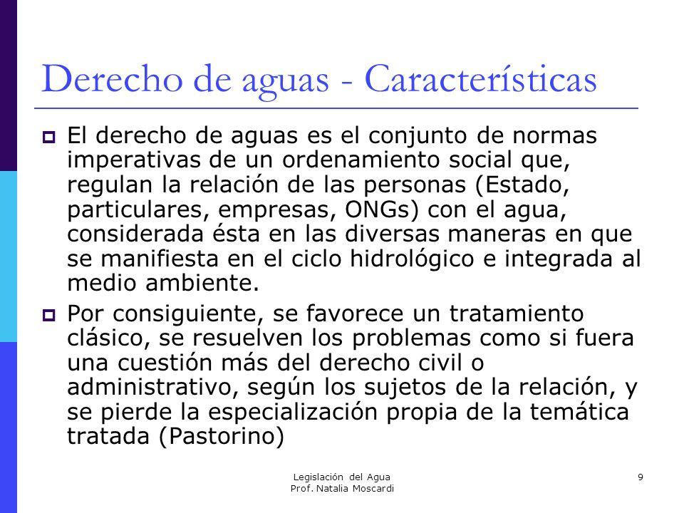 Legislación del Agua Prof. Natalia Moscardi 9 Derecho de aguas - Características El derecho de aguas es el conjunto de normas imperativas de un ordena
