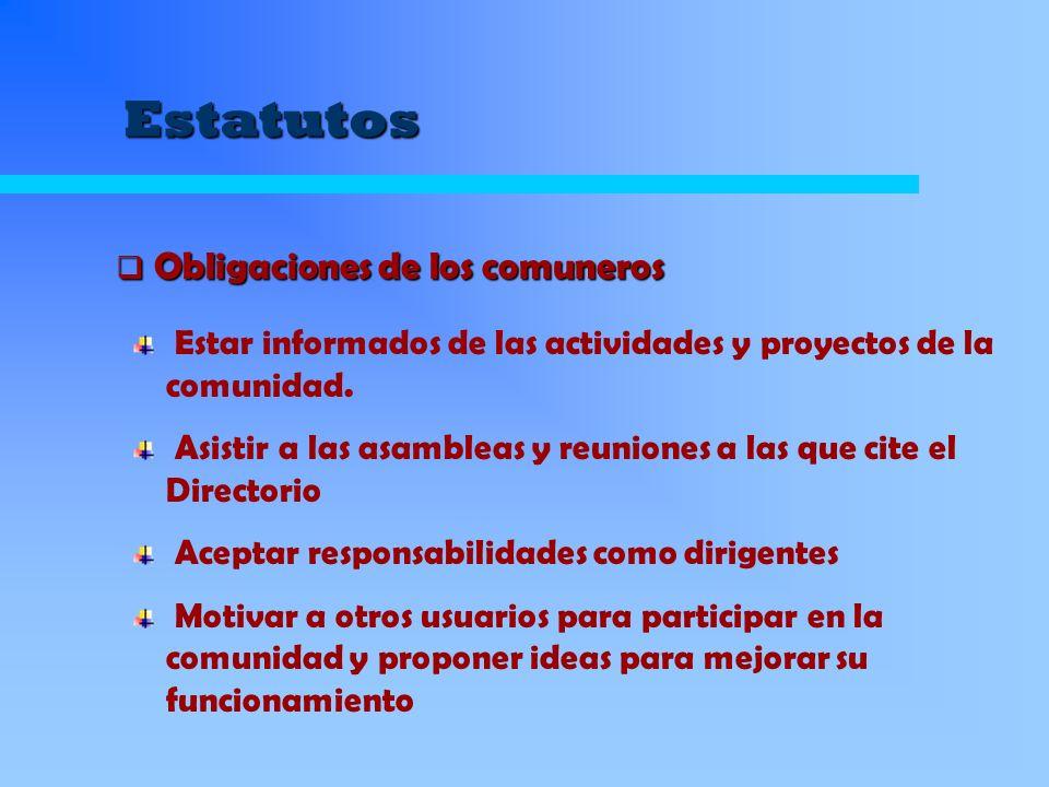 Estatutos Estar informados de las actividades y proyectos de la comunidad. Asistir a las asambleas y reuniones a las que cite el Directorio Aceptar re