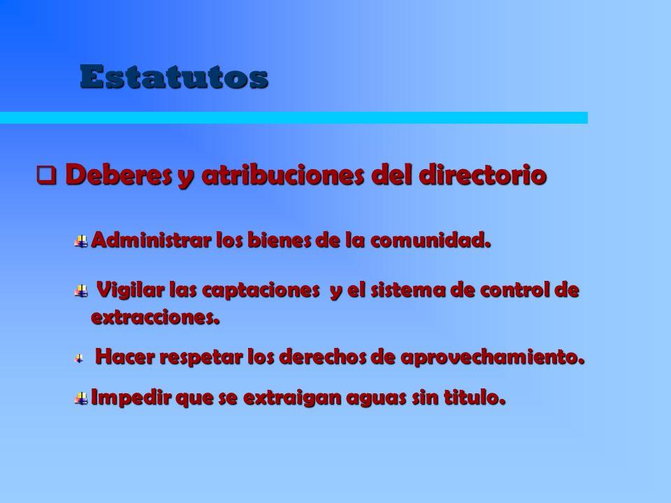 Estatutos Administrar los bienes de la comunidad. Vigilar las captaciones y el sistema de control de extracciones. Vigilar las captaciones y el sistem