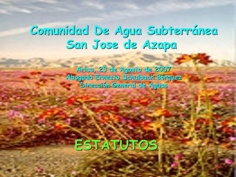 Comunidad De Agua Subterránea San Jose de Azapa Arica, 23 de Agosto de 2007 Abogado Ernesto Schulbach Bórquez Dirección General de Aguas ESTATUTOS