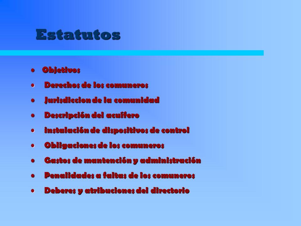 Estatutos Objetivos Obligaciones de los comuneros Derechos de los comuneros Deberes y atribuciones del directorio Ventajas para los usuarios por participar en la comunidad
