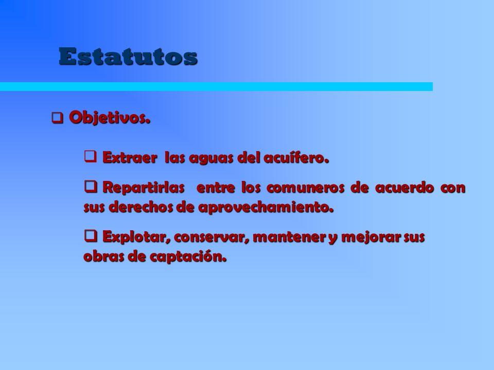 Estatutos Objetivos. Objetivos. Extraer las aguas del acuífero. Repartirlas entre los comuneros de acuerdo con sus derechos de aprovechamiento. Repart