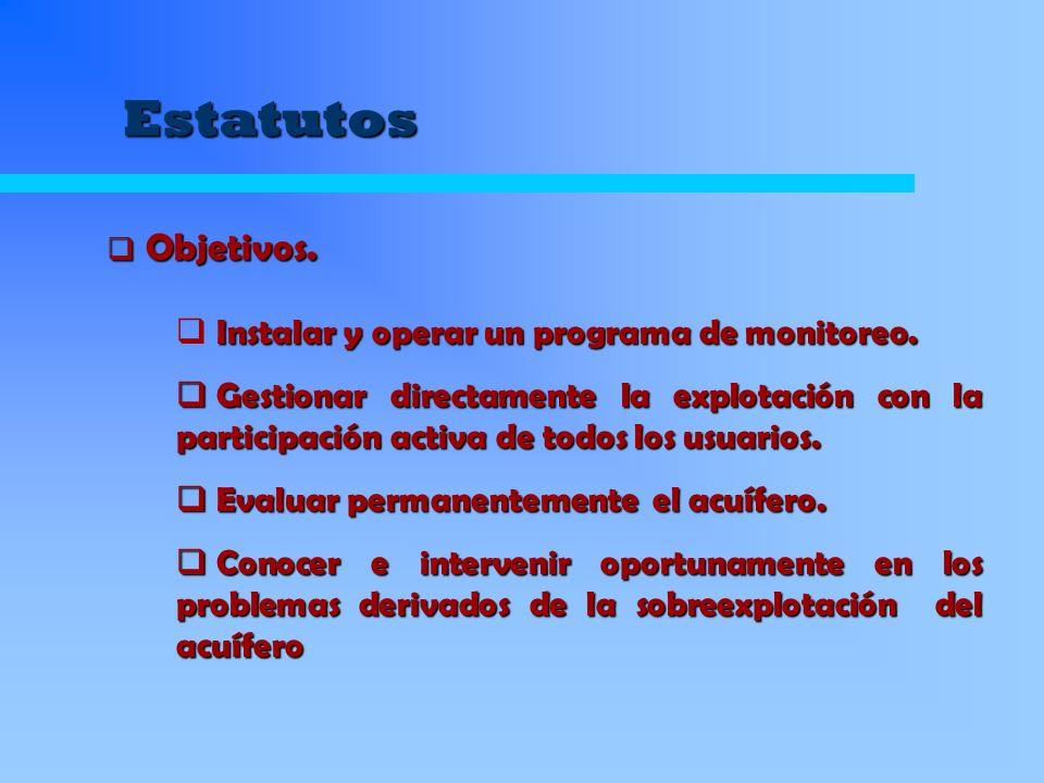 Estatutos Llevar una estadística de los caudales extraídos por cada uno de los comuneros.