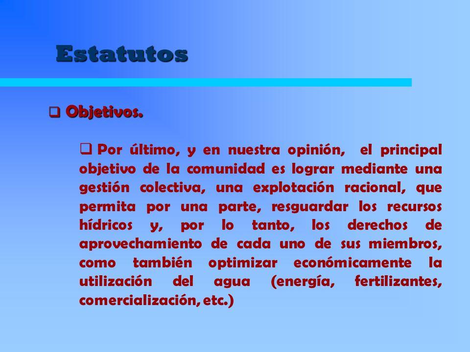 Estatutos Instalar en su captación un mecanismo de medición Financiar la instalación y reparación de dicho mecanismo Financiar la instalación y reparación de dicho mecanismo Compartir los gastos de funcionamiento de la comunidad, en proporción a sus derechos.