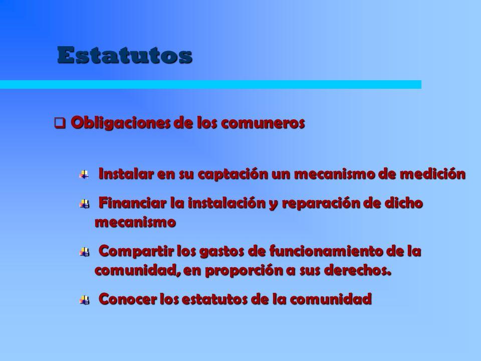 Estatutos Instalar en su captación un mecanismo de medición Financiar la instalación y reparación de dicho mecanismo Financiar la instalación y repara