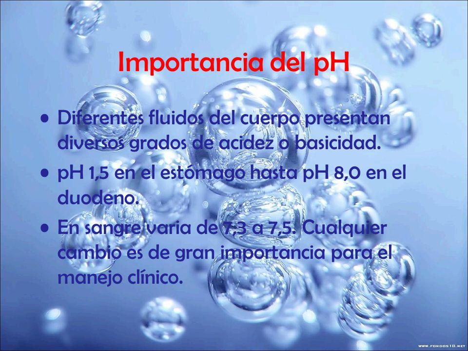 Importancia del pH Diferentes fluidos del cuerpo presentan diversos grados de acidez o basicidad. pH 1,5 en el estómago hasta pH 8,0 en el duodeno. En
